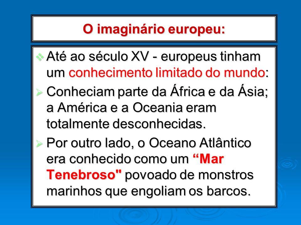 O imaginário europeu: Até ao século XV - europeus tinham um conhecimento limitado do mundo: Até ao século XV - europeus tinham um conhecimento limitad