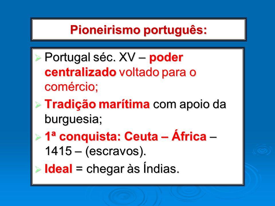 Pioneirismo português: Portugal séc. XV – poder centralizado voltado para o comércio; Portugal séc. XV – poder centralizado voltado para o comércio; T