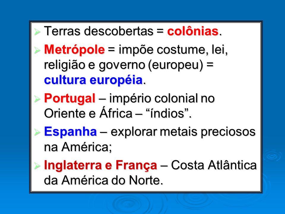 Terras descobertas = colônias. Terras descobertas = colônias. Metrópole = impõe costume, lei, religião e governo (europeu) = cultura européia. Metrópo