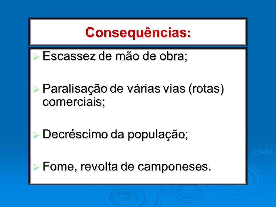 Consequências : Escassez de mão de obra; Escassez de mão de obra; Paralisação de várias vias (rotas) comerciais; Paralisação de várias vias (rotas) co