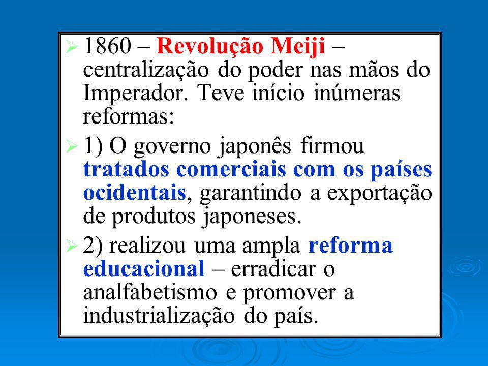 1860 – Revolução Meiji – centralização do poder nas mãos do Imperador. Teve início inúmeras reformas: 1) O governo japonês firmou tratados comerciais