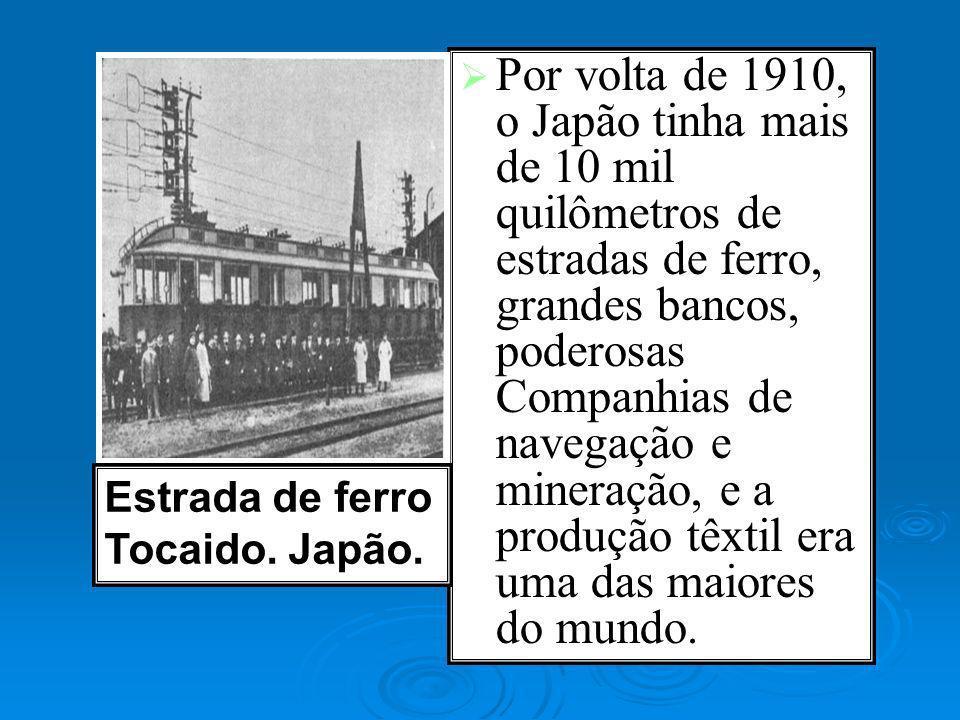 Por volta de 1910, o Japão tinha mais de 10 mil quilômetros de estradas de ferro, grandes bancos, poderosas Companhias de navegação e mineração, e a p