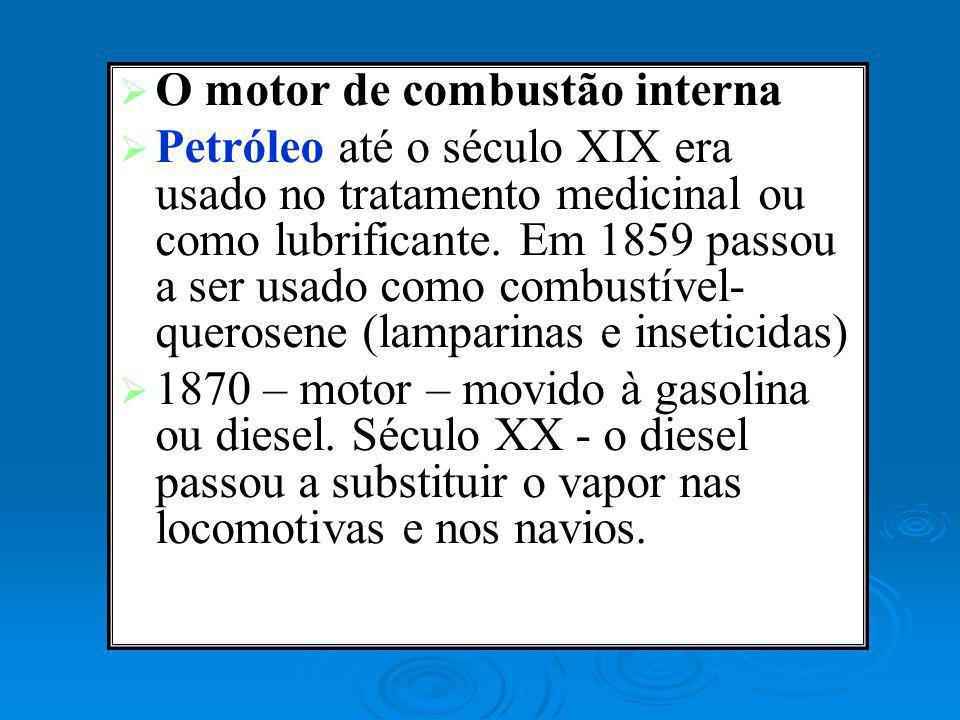 O motor de combustão interna Petróleo até o século XIX era usado no tratamento medicinal ou como lubrificante. Em 1859 passou a ser usado como combust