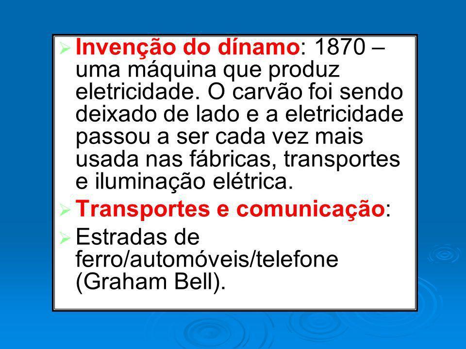 Invenção do dínamo: 1870 – uma máquina que produz eletricidade. O carvão foi sendo deixado de lado e a eletricidade passou a ser cada vez mais usada n