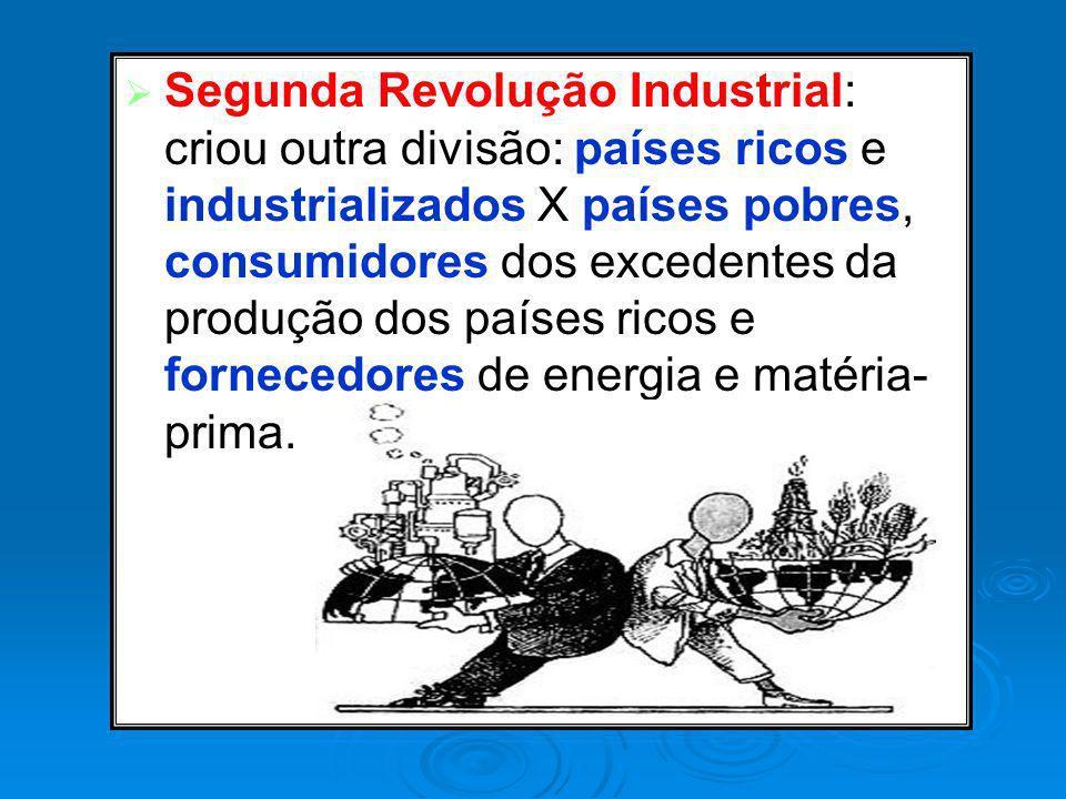 Segunda Revolução Industrial: criou outra divisão: países ricos e industrializados X países pobres, consumidores dos excedentes da produção dos países