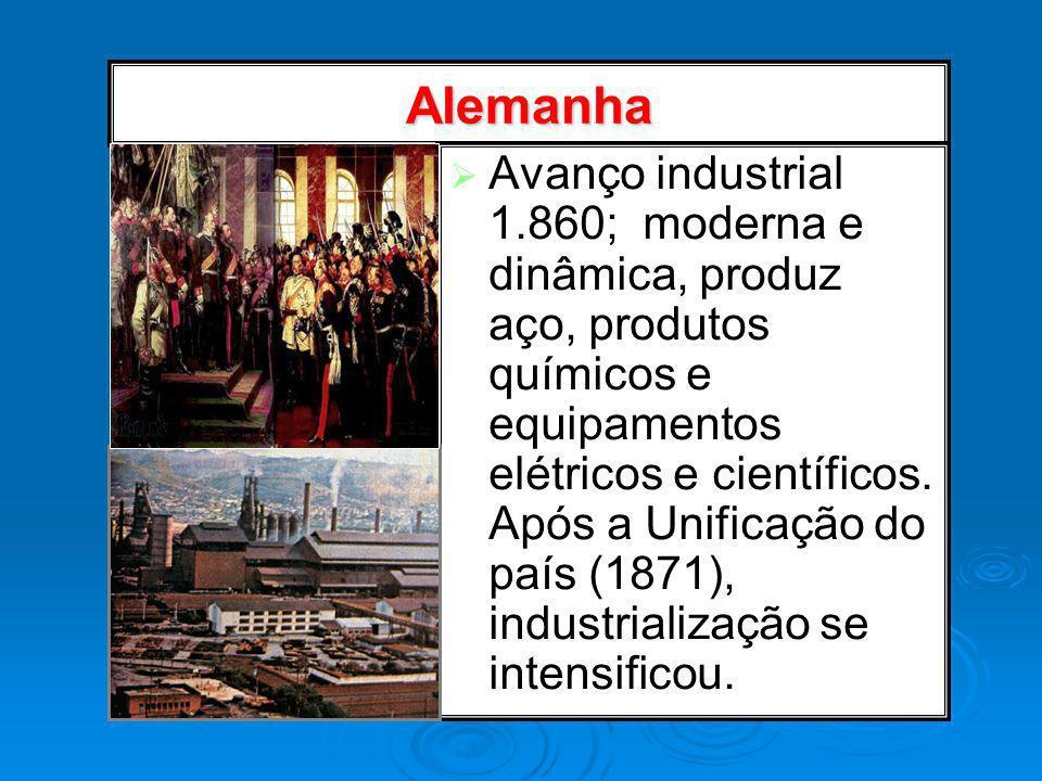 Alemanha Avanço industrial 1.860; moderna e dinâmica, produz aço, produtos químicos e equipamentos elétricos e científicos. Após a Unificação do país