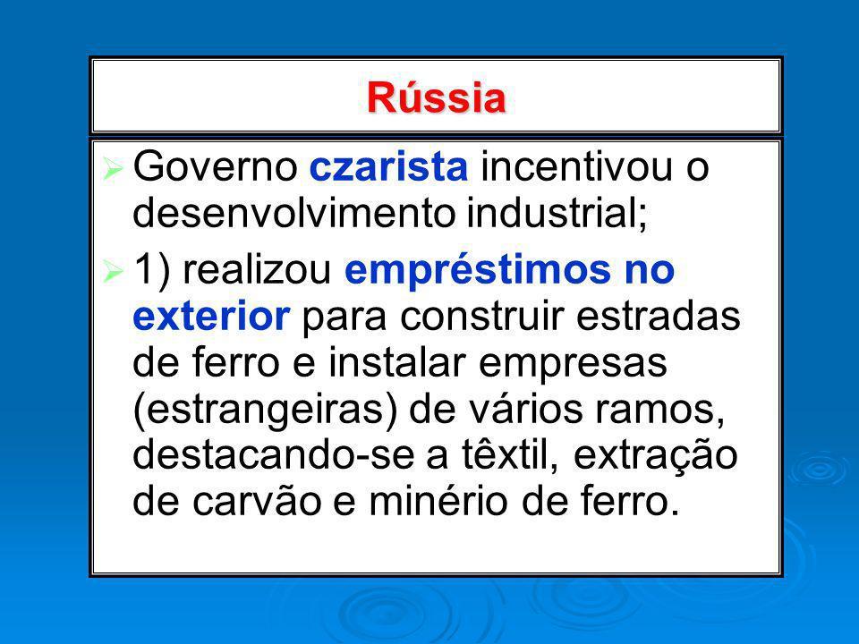 Rússia Governo czarista incentivou o desenvolvimento industrial; 1) realizou empréstimos no exterior para construir estradas de ferro e instalar empre