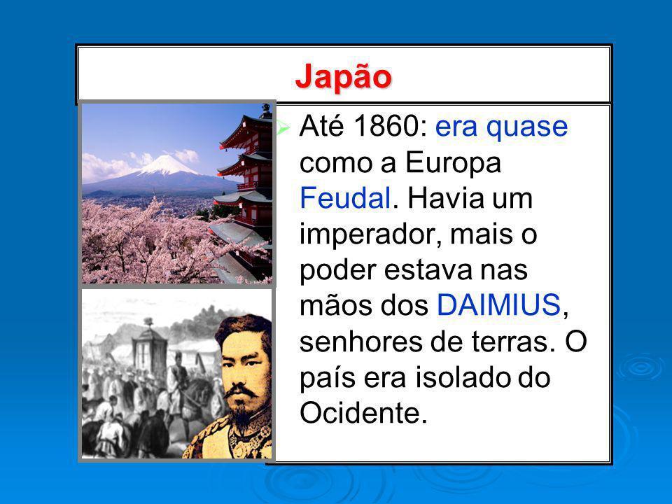 Japão Até 1860: era quase como a Europa Feudal. Havia um imperador, mais o poder estava nas mãos dos DAIMIUS, senhores de terras. O país era isolado d