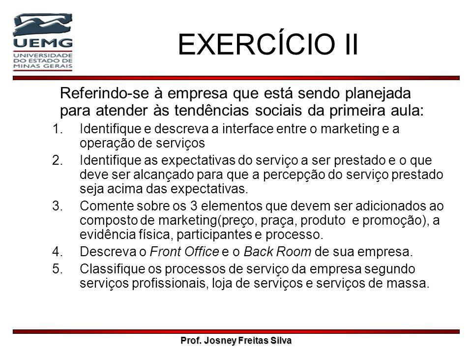 Prof. Josney Freitas Silva EXERCÍCIO II Referindo-se à empresa que está sendo planejada para atender às tendências sociais da primeira aula: 1.Identif