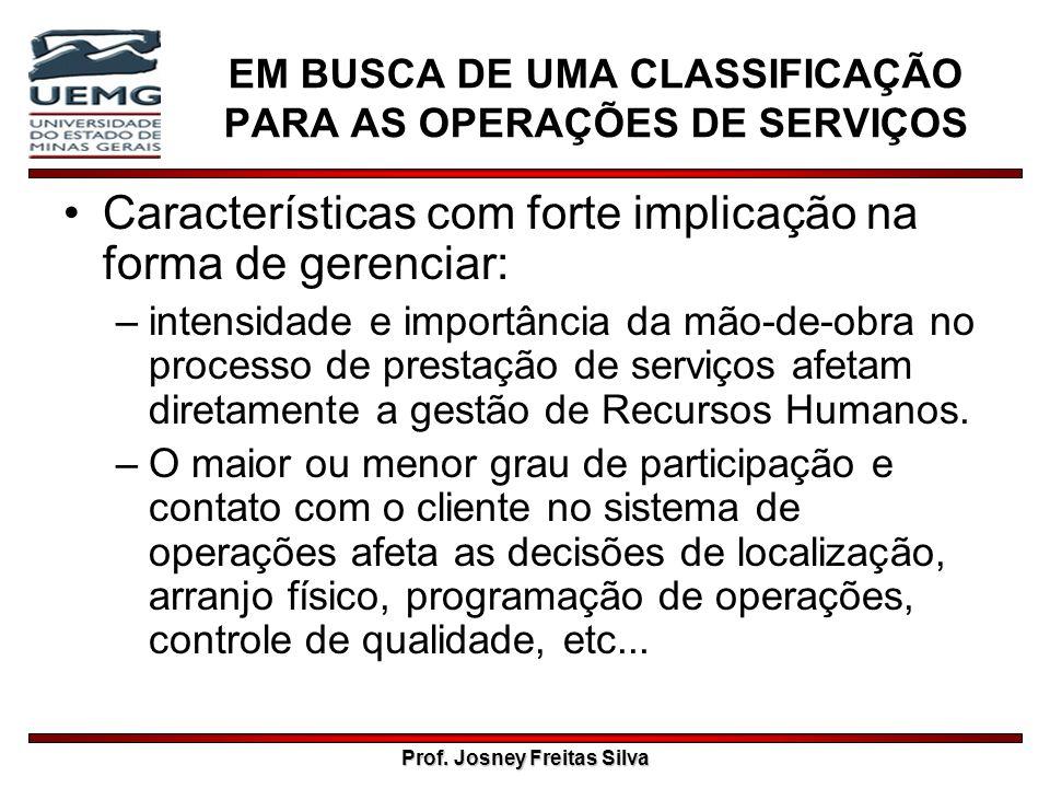 Prof. Josney Freitas Silva EM BUSCA DE UMA CLASSIFICAÇÃO PARA AS OPERAÇÕES DE SERVIÇOS Características com forte implicação na forma de gerenciar: –in
