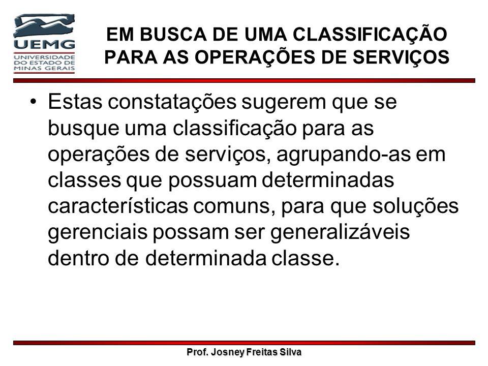 Prof. Josney Freitas Silva EM BUSCA DE UMA CLASSIFICAÇÃO PARA AS OPERAÇÕES DE SERVIÇOS Estas constatações sugerem que se busque uma classificação para
