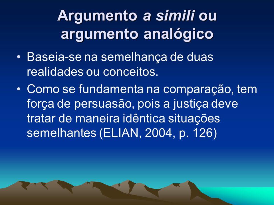 Argumento a simili ou argumento analógico Baseia-se na semelhança de duas realidades ou conceitos. Como se fundamenta na comparação, tem força de pers