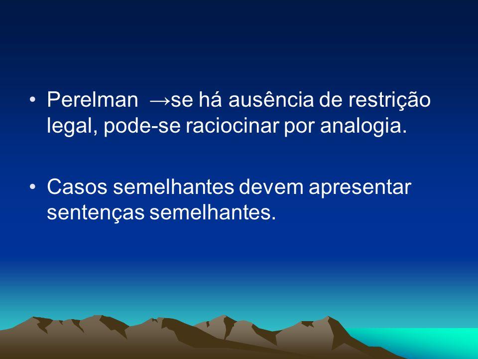Perelman se há ausência de restrição legal, pode-se raciocinar por analogia. Casos semelhantes devem apresentar sentenças semelhantes.