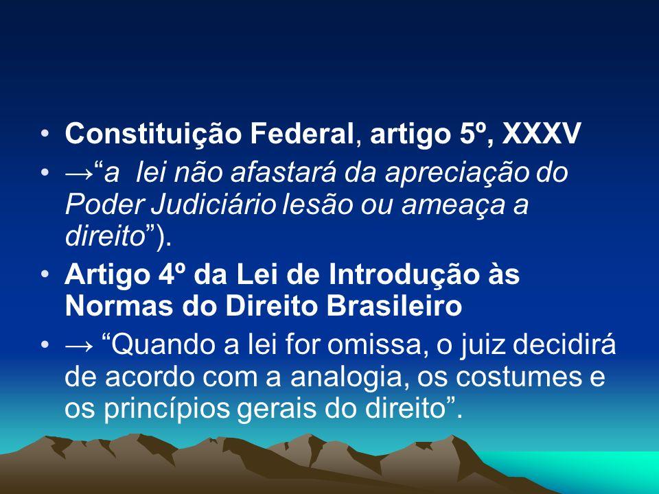 Constituição Federal, artigo 5º, XXXV a lei não afastará da apreciação do Poder Judiciário lesão ou ameaça a direito). Artigo 4º da Lei de Introdução