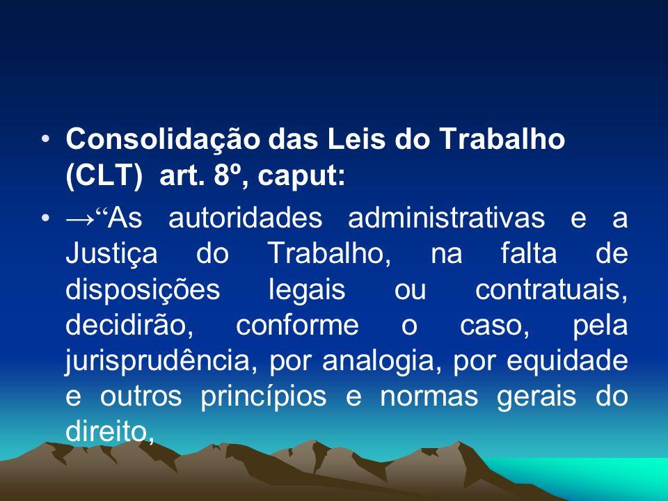 Consolidação das Leis do Trabalho (CLT) art. 8º, caput: As autoridades administrativas e a Justiça do Trabalho, na falta de disposições legais ou cont