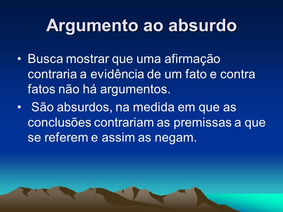 Argumento ao absurdo Busca mostrar que uma afirmação contraria a evidência de um fato e contra fatos não há argumentos. São absurdos, na medida em que