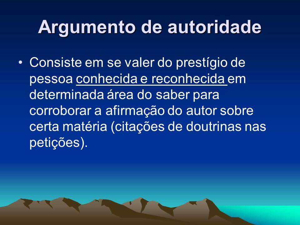 Argumento de autoridade Consiste em se valer do prestígio de pessoa conhecida e reconhecida em determinada área do saber para corroborar a afirmação d