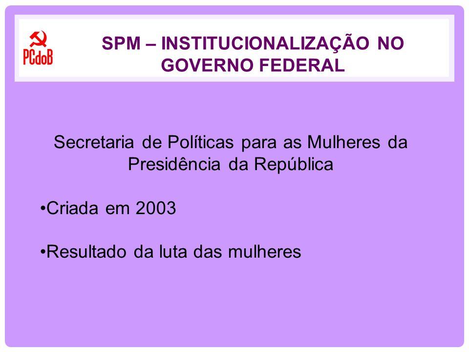 Secretaria de Políticas para as Mulheres da Presidência da República Criada em 2003 Resultado da luta das mulheres SPM – INSTITUCIONALIZAÇÃO NO GOVERN