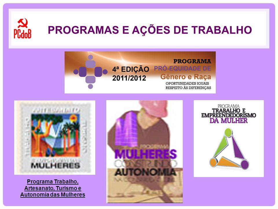 PROGRAMAS E AÇÕES DE TRABALHO Programa Trabalho, Artesanato, Turismo e Autonomia das Mulheres