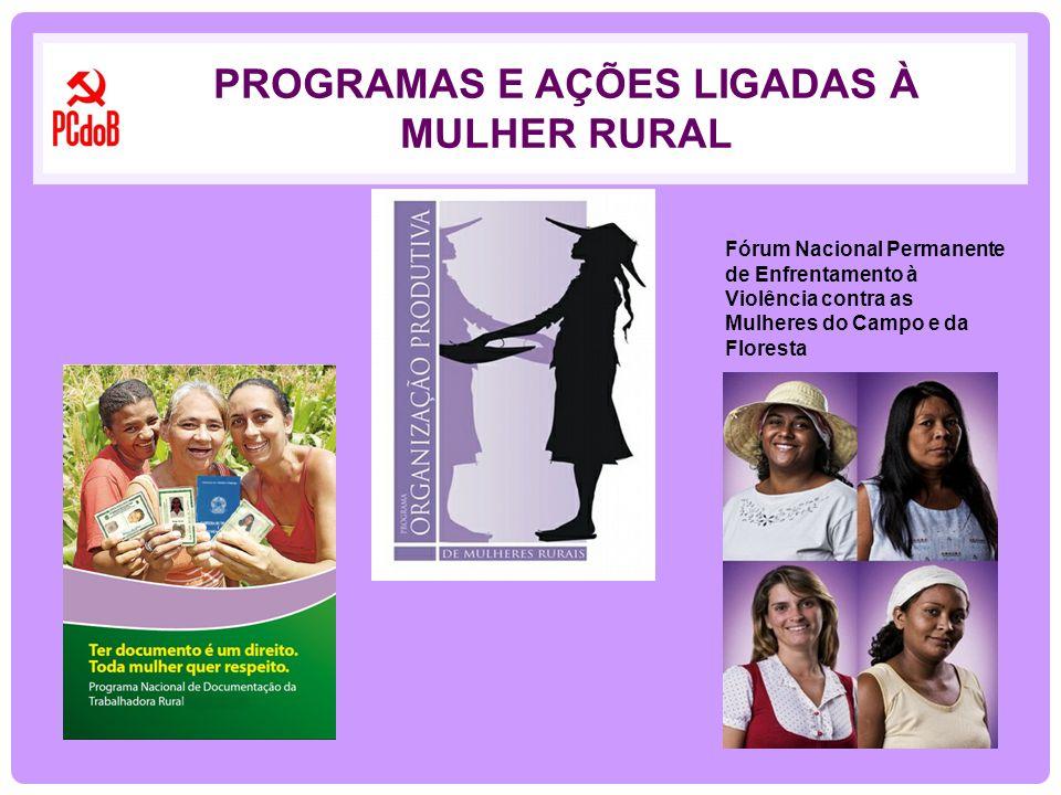 PROGRAMAS E AÇÕES LIGADAS À MULHER RURAL Fórum Nacional Permanente de Enfrentamento à Violência contra as Mulheres do Campo e da Floresta