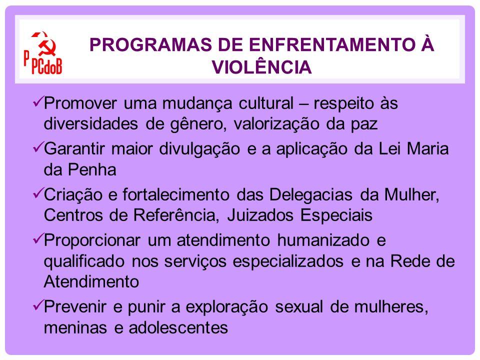 Promover uma mudança cultural – respeito às diversidades de gênero, valorização da paz Garantir maior divulgação e a aplicação da Lei Maria da Penha C