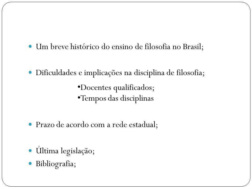Um breve histórico do ensino de filosofia no Brasil; Dificuldades e implicações na disciplina de filosofia; Prazo de acordo com a rede estadual; Últim