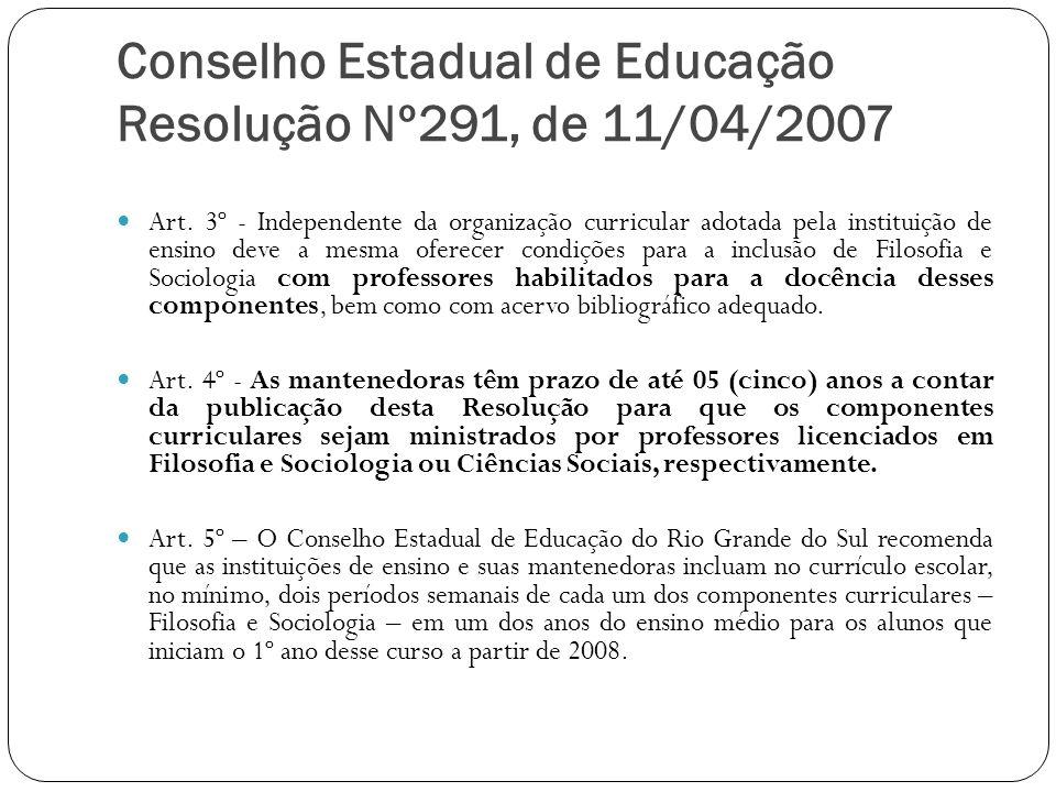 Conselho Estadual de Educação Resolução Nº291, de 11/04/2007 Art. 3º - Independente da organização curricular adotada pela instituição de ensino deve