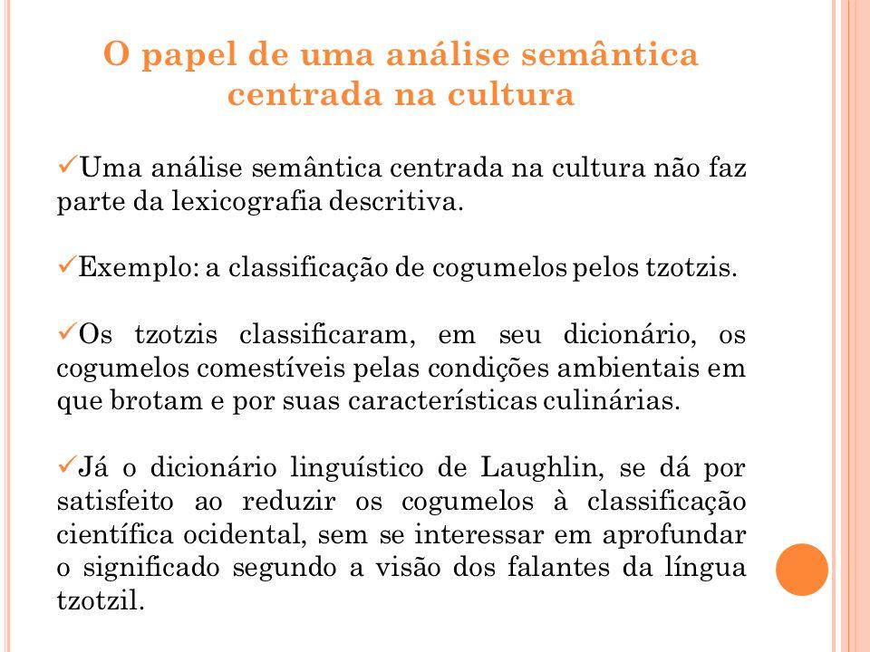O papel de uma análise semântica centrada na cultura Uma análise semântica centrada na cultura não faz parte da lexicografia descritiva. Exemplo: a cl