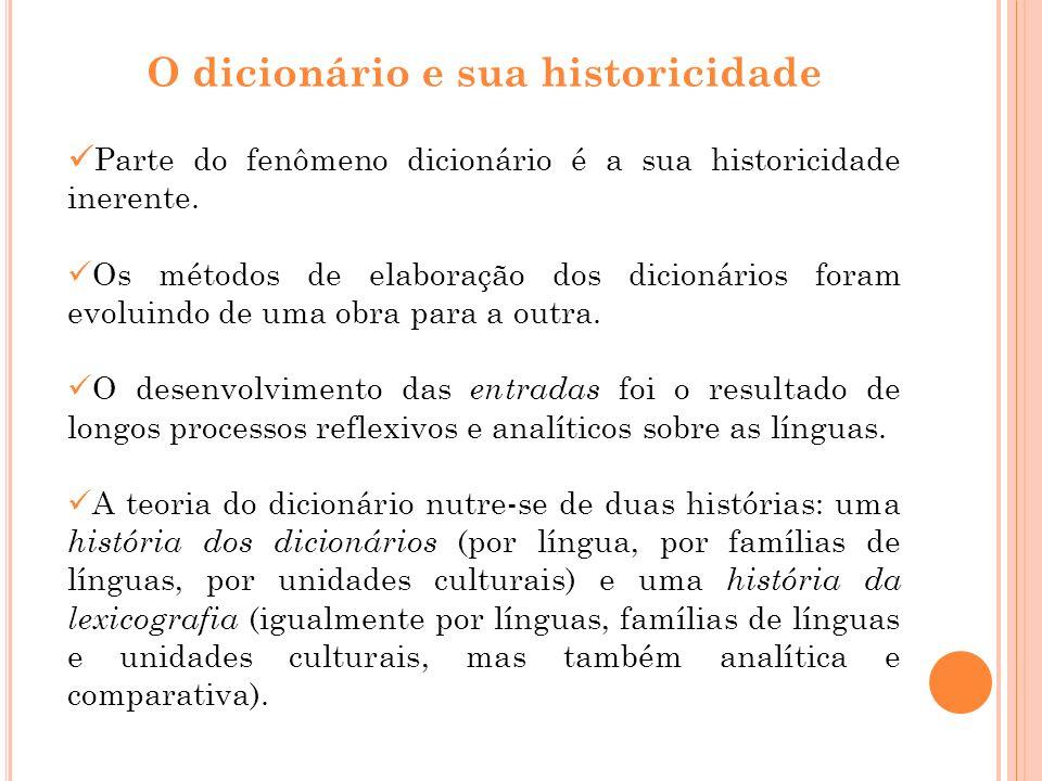 O dicionário e sua historicidade Parte do fenômeno dicionário é a sua historicidade inerente. Os métodos de elaboração dos dicionários foram evoluindo