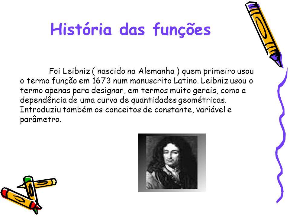 História das funções Foi Leibniz ( nascido na Alemanha ) quem primeiro usou o termo função em 1673 num manuscrito Latino. Leibniz usou o termo apenas