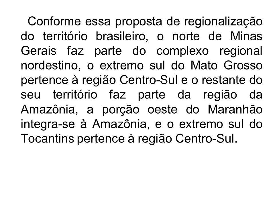 Conforme essa proposta de regionalização do território brasileiro, o norte de Minas Gerais faz parte do complexo regional nordestino, o extremo sul do