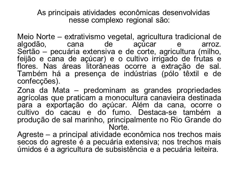 As principais atividades econômicas desenvolvidas nesse complexo regional são: Meio Norte – extrativismo vegetal, agricultura tradicional de algodão,