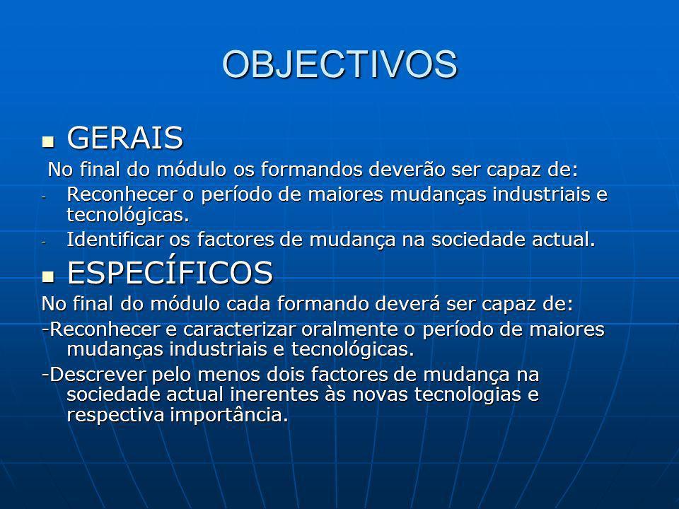 OBJECTIVOS GERAIS GERAIS No final do módulo os formandos deverão ser capaz de: No final do módulo os formandos deverão ser capaz de: - Reconhecer o pe