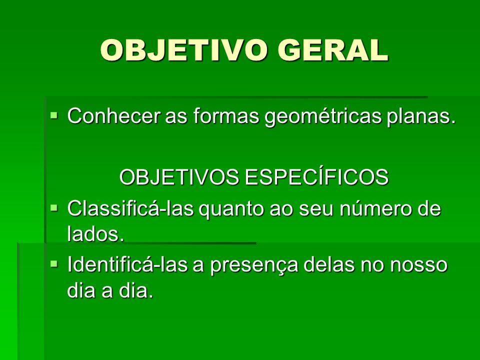 OBJETIVO GERAL Conhecer as formas geométricas planas. Conhecer as formas geométricas planas. OBJETIVOS ESPECÍFICOS Classificá-las quanto ao seu número