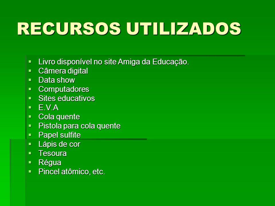 RECURSOS UTILIZADOS Livro disponível no site Amiga da Educação. Livro disponível no site Amiga da Educação. Câmera digital Câmera digital Data show Da