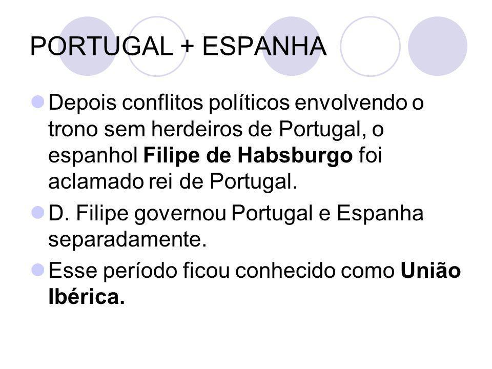 PORTUGAL + ESPANHA Depois conflitos políticos envolvendo o trono sem herdeiros de Portugal, o espanhol Filipe de Habsburgo foi aclamado rei de Portuga
