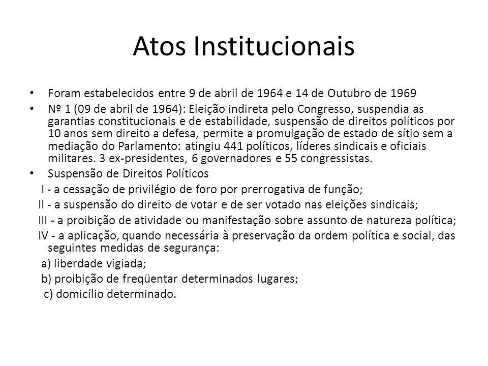 Atos Institucionais Foram estabelecidos entre 9 de abril de 1964 e 14 de Outubro de 1969 Nº 1 (09 de abril de 1964): Eleição indireta pelo Congresso,