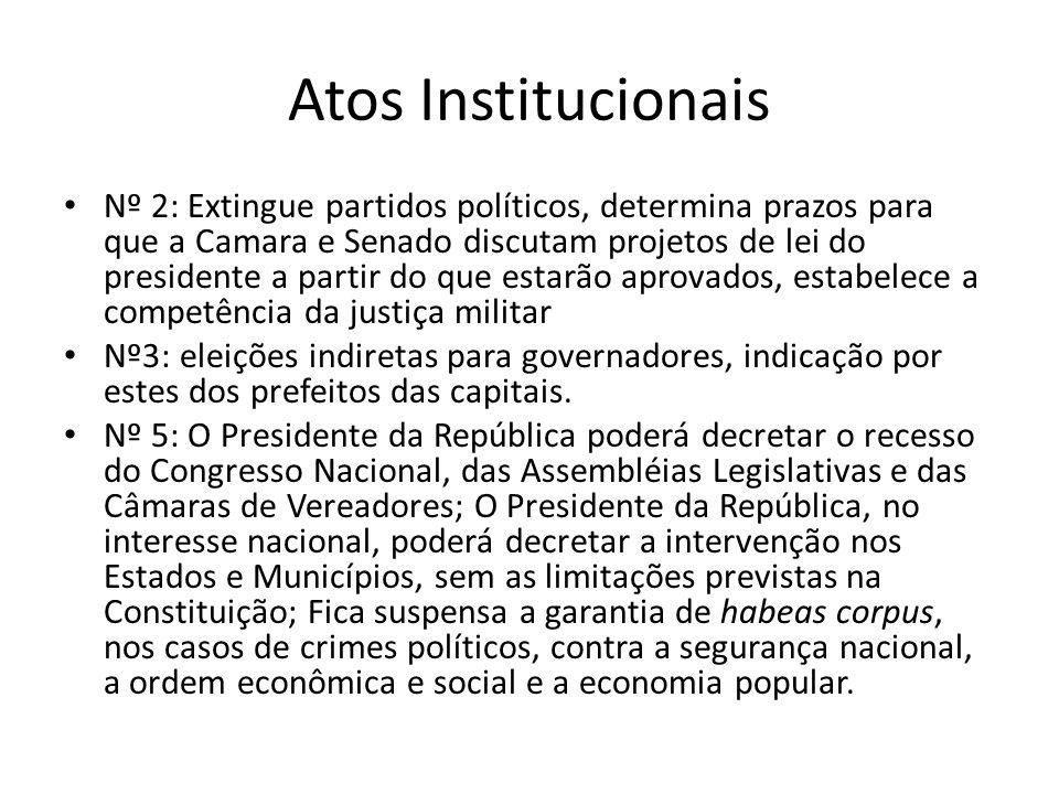 Atos Institucionais Nº 2: Extingue partidos políticos, determina prazos para que a Camara e Senado discutam projetos de lei do presidente a partir do