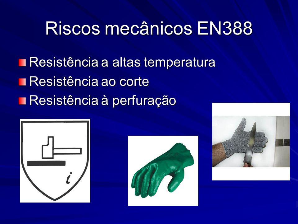 Riscos mecânicos EN388 Resistência a altas temperatura Resistência ao corte Resistência à perfuração