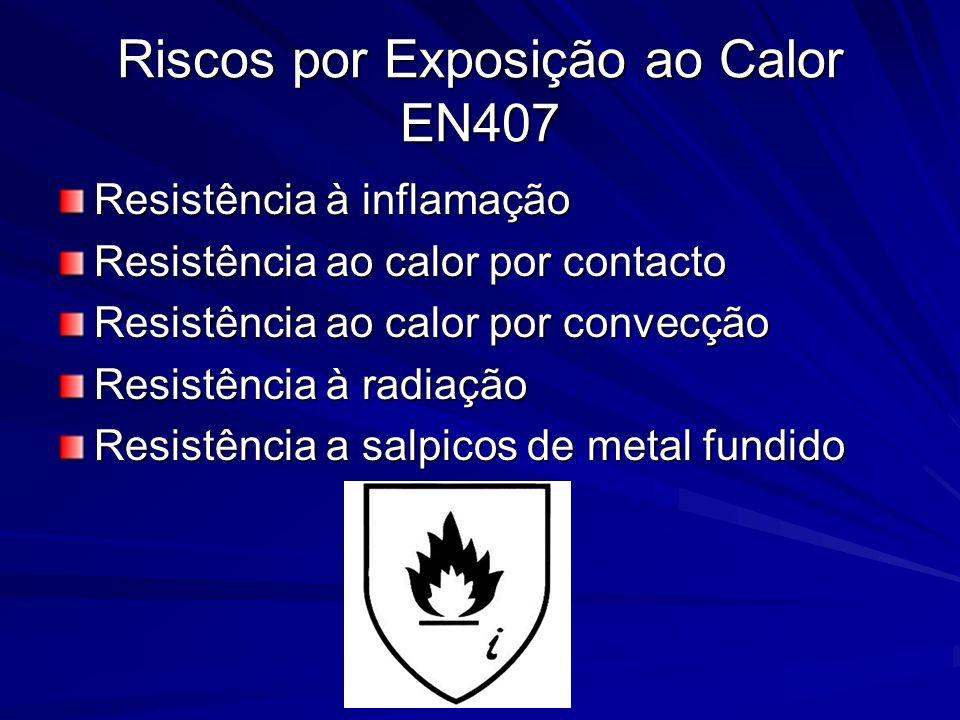 Riscos por Exposição ao Calor EN407 Resistência à inflamação Resistência ao calor por contacto Resistência ao calor por convecção Resistência à radiaç