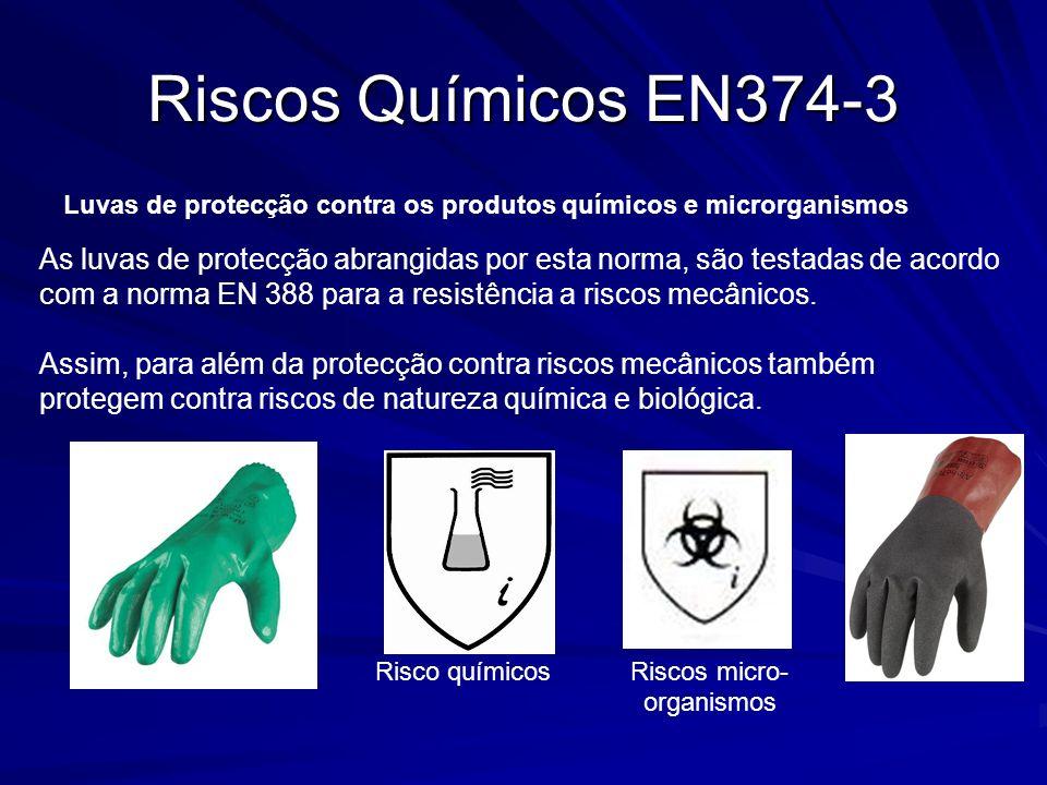 Riscos Químicos EN374-3 Luvas de protecção contra os produtos químicos e microrganismos As luvas de protecção abrangidas por esta norma, são testadas