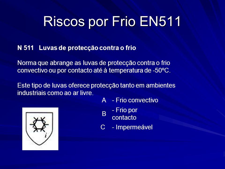 Riscos por Frio EN511 N 511 Luvas de protecção contra o frio Norma que abrange as luvas de protecção contra o frio convectivo ou por contacto até à te