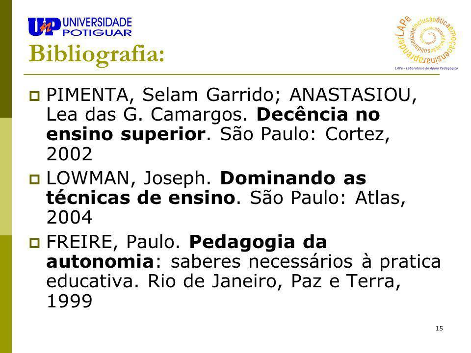 15 Bibliografia: PIMENTA, Selam Garrido; ANASTASIOU, Lea das G. Camargos. Decência no ensino superior. São Paulo: Cortez, 2002 LOWMAN, Joseph. Dominan