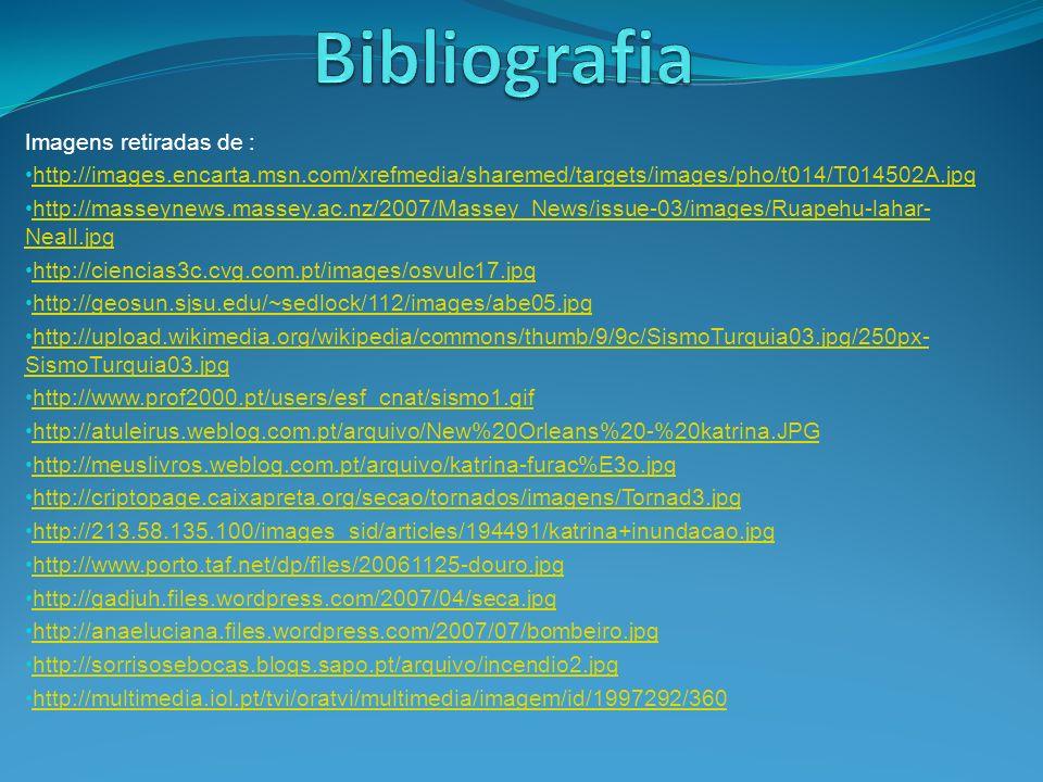 Informação retirada de: http://pt.wikipedia.org/wiki/Sismos Farndon, John, tempestades, in Dicionário escolar da Terra, Ed.