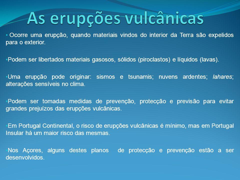 Ocorre uma erupção, quando materiais vindos do interior da Terra são expelidos para o exterior. Podem ser libertados materiais gasosos, sólidos (piroc