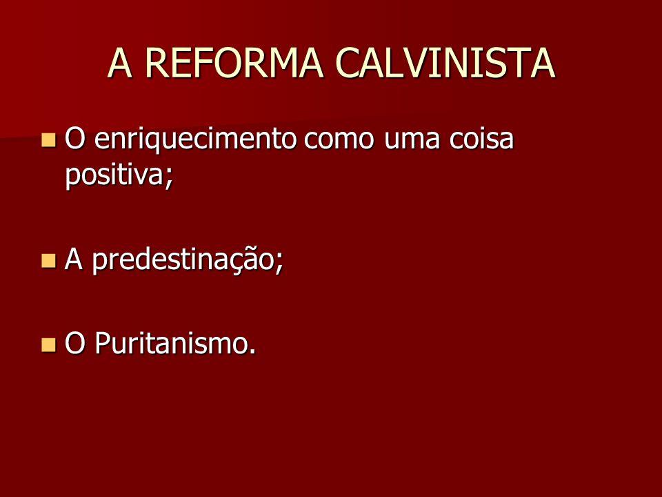A REFORMA CALVINISTA O enriquecimento como uma coisa positiva; O enriquecimento como uma coisa positiva; A predestinação; A predestinação; O Puritanis