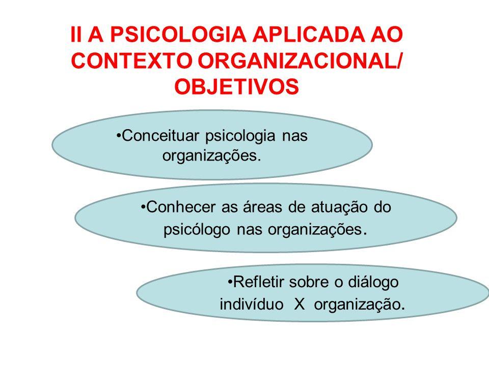 II A PSICOLOGIA APLICADA AO CONTEXTO ORGANIZACIONAL/ OBJETIVOS Conceituar psicologia nas organizações. Conhecer as áreas de atuação do psicólogo nas o