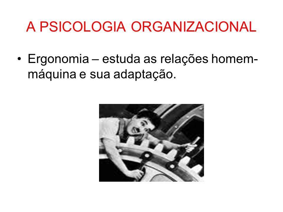 A PSICOLOGIA ORGANIZACIONAL Ergonomia – estuda as relações homem- máquina e sua adaptação.