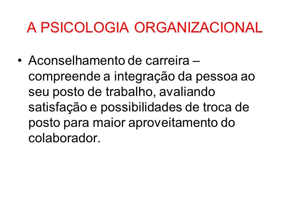 A PSICOLOGIA ORGANIZACIONAL Aconselhamento de carreira – compreende a integração da pessoa ao seu posto de trabalho, avaliando satisfação e possibilid