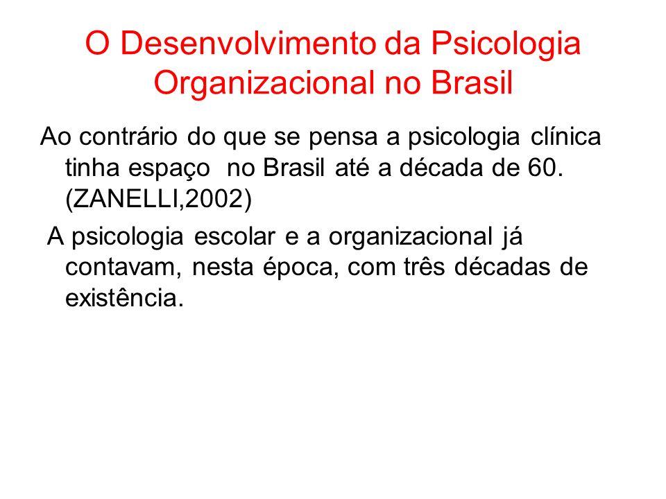 O Desenvolvimento da Psicologia Organizacional no Brasil Ao contrário do que se pensa a psicologia clínica tinha espaço no Brasil até a década de 60.